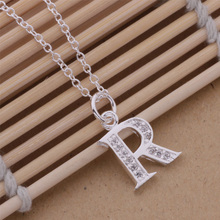 AN217 top quality silver letters K and R pendant necklace with zircon Classic charm jewelry nice gift for woman hot