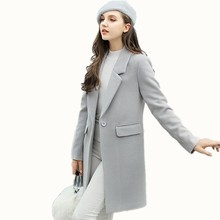B1609 2017 autumn winter new European and American style women wear new coat fashion trend show thin Blends coat free shipping(China)