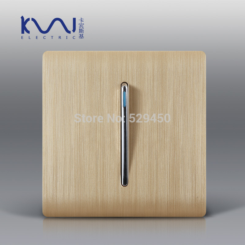 Free Shipping, Kempinski Luxury Wall Switch Panel, 1 Gang 2 Way Light Switch, Champagne Gold Color, C31 sereis, 110~250V<br><br>Aliexpress