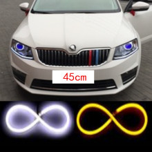 45cm x2 LED Daytime Running Light DRL Strip Amber Light Bar Light Switchback DRL for VW polo golf 4 5 beetle passat b5 6