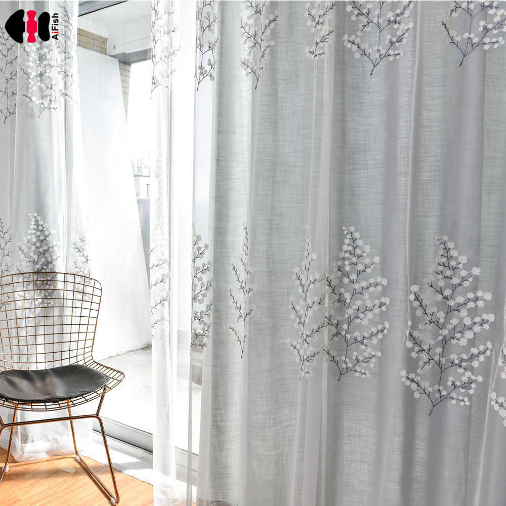 Pastoral Tree Mesh Embroidered Curtain Nets Cotton Line Wedding Bedroom Shopping Mall Salon French Window Drapes Gauze WP067C