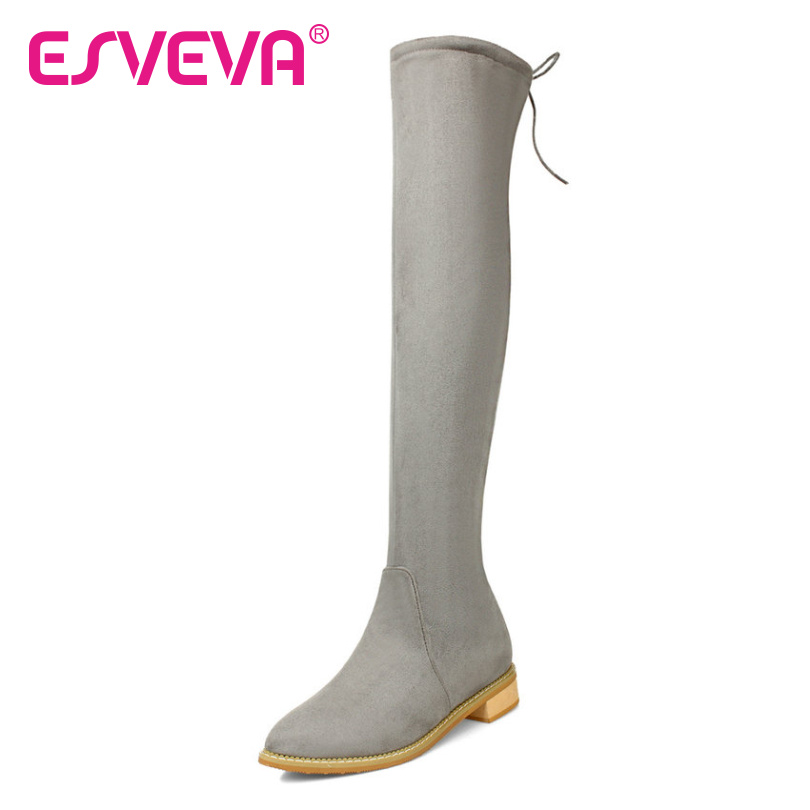 ESVEVA  Sexy Back Lace Up Boots Low Thick Heel Black Over The Knee Boots Sexy Warm Short Plush Winter Women Shoes Big Size 34-43<br><br>Aliexpress