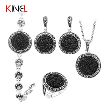 2016 NEW Black Broken Stone Wedding Jewelry Sets Earrings Ring For Women Unique Boho Silver Plated Engagement Jewelry Set