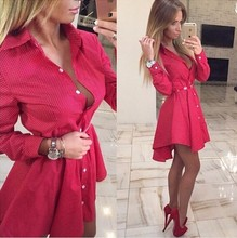 2017New Summer fashion Women Shirt Dress Small dots Printed Irregular Office Long Sleeve Red Mini Vestidos short dresses ukraine