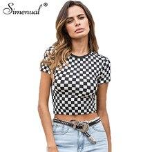 Simenual Checkerboard summer crop top 2018 fashion plaid female t-shirt black white slim sexy t-shirts women short tops sale