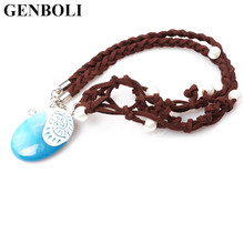 1 pcs Necklace Cosplay Costume Blue Pendant Plastic Sea Necklace Dress-up Dramatis Props Kids fashion Jewelry(China)