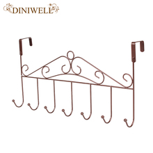 DINIWELL Household Creative Wrought Iron Metal Door Hook Nail Back Door Clothes Caps Bag Hanging 7 Clasps Door Organizer