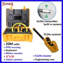 Factory price 512hz locator sewer pipe inspection camera system DVR keyboard meter counter fiberglass cable 20m 9Inch LCD(China)