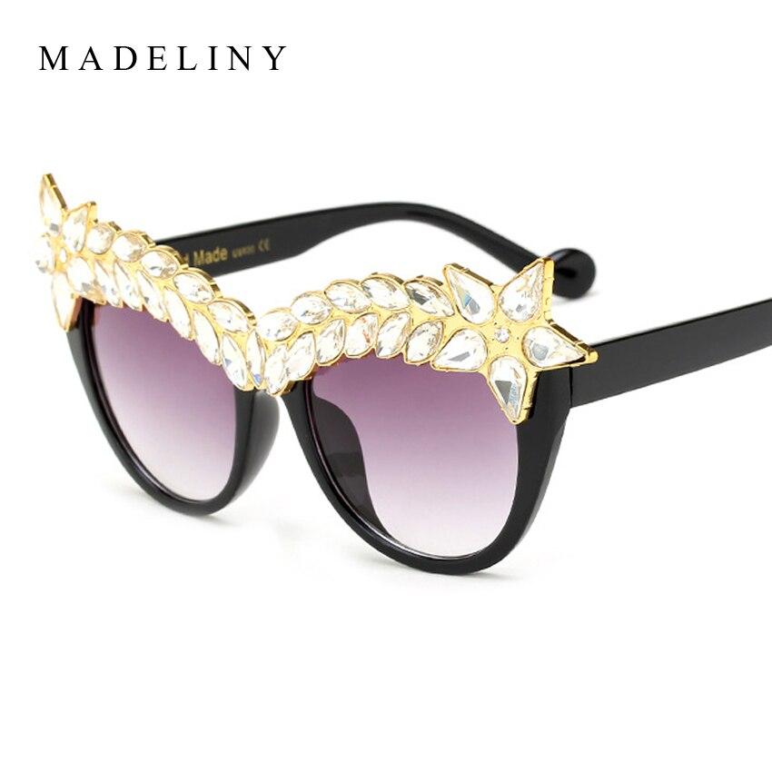 MADELINY Exaggeration Cat eye Sunglasses Women Fashion Retro Gradient Sun Glasses Crystal Frame Shades Glasses UV400 MA437<br><br>Aliexpress