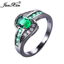 JUNXIN Female Oval Ring Fashion White & Black Gold Filled Jewelry Vintage Wedding Rings For Men And Women Birthday Gifts
