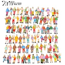 KiWarm 100pcs Scale 1:87 Mixed Painted Model Trains People Passengers Figurines Miniatures for Micro Garden DIY Decoration Craft