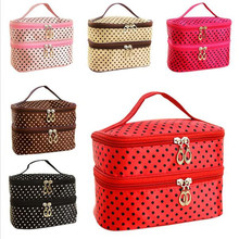 Fashion Double layer small dots cosmetic bag makeup tool storage bag multifunctional Storage package free shipping S385(China)