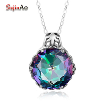 Szjinao Original 925 Sterling Silver Pendants&Necklaces for Women Colorful Stone Classic Pendants for Women Silver 925 Jewelry(China)
