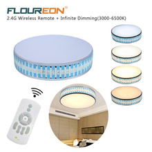 Floureon Lampshade Crystal Ceiling Light 20inch 36W Dimming Bedroom/Foyer Ceiling Light Round Led Home Decoration Lamp,180V-264V(China)