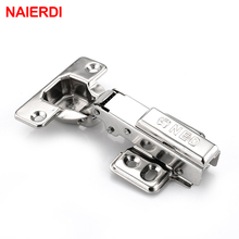 NAIERDI Full Size 304 Stainless Steel Hydraulic Hinge Pure Copper Damper Buffer Cabinet Cupboard Door Hinges Furniture Hardware(China)