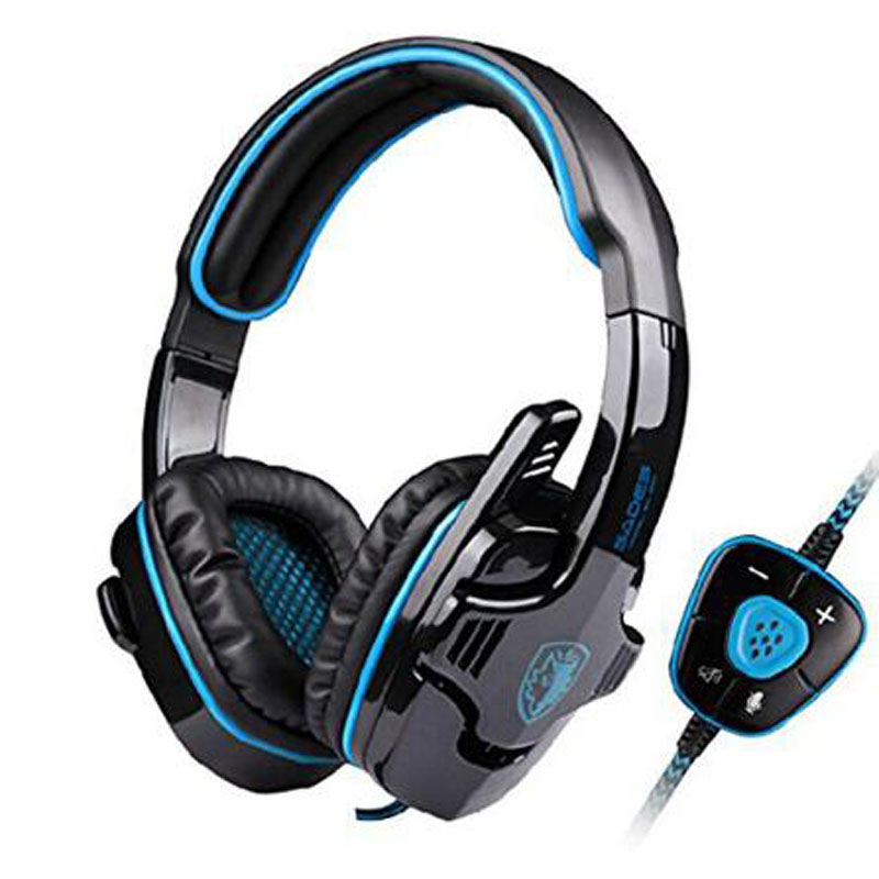 Sades SA-901 Gaming Headset 7.1 Surround Sound Headphones with Mic Remote Control USB LED Stereo Bass Earphone for PC Gamer<br>