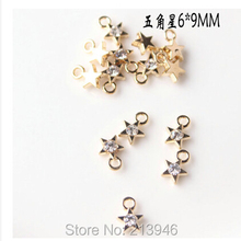 AAA 50Pcs 6*9MM Star Tone Glass Rhinestones Gold Color Alloy Jewelry Charms