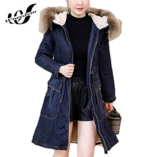 WNEEDYM Loose Female Jeans Coat Girls Outwear Women Denim Long Cashmere Thicker Section Lambs Wool Jackets Amp Plus Size LFS208(China)