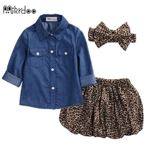 Buy New Fashion Baby Girls 3PC Denim Skirts Clothes Sets Long Sleeve Denim Shirt+Leopard Skirts Headband Girls Summer Clothes set for $10.94 in AliExpress store