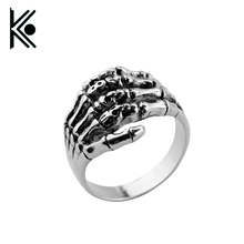 High quality Skeleton Hand Ring anel Men's Cool Punk Gothic Ghost Biker Band Skull Silver Size 8-12 Free Shipping(China)