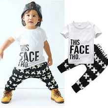 baby summer 2pcs Set 2016 baby boy Set toddlers kids short sleeve letter printed tops+cross long pants outfits