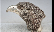 "zmr bronze factory outlets Tibet Silver 7""China Fengshui Silver Sky Overlord Hawk Eagle Bird Head Bust Statue sculpture"