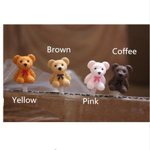 4pcs/set 4 Different Color Teddy bears shape dust plug universal 3.5mm earphone plug for all cellphones For Iphone for Sumsang