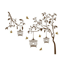 Decorative Removable Tree Birdcage Vinyl Wall Stickers Mural Art Decal for Home Bedroom Decals Stikers