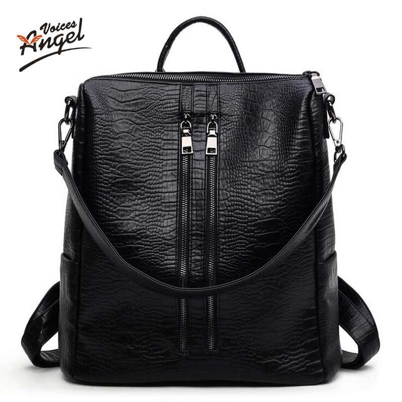 Angel Voices Fashion PU Square Alligator Women Backpack Solid Simple School Bag Alligator Backpack Handsome Girl Shoulder Bag<br><br>Aliexpress