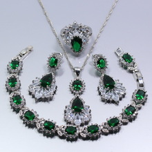 925 Sterling Silver Green Created Emerald Austria Crystal Women 4PCS Jewelry Set Earrings Ring Necklace Pendant Bracelet Gift