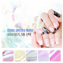 5 Different Colors/set 2016 NEW Broken Glass Pieces Mirror Foil Tips Stencil Decal Nail Art decorations Sticker Cute DIY Tools(China)