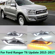 Car Flashing styling 2pcs For Ford Ranger T6 Update 2015 - 2017 LED DRL Daytime Running Light Daylight Fog Head yellow turn Lamp(China)