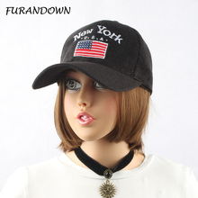 FURANDOWN Brand Women NY Cap Baseball Hat America Flag embroidery Caps Spring Autumn Corduroy Hats For Men