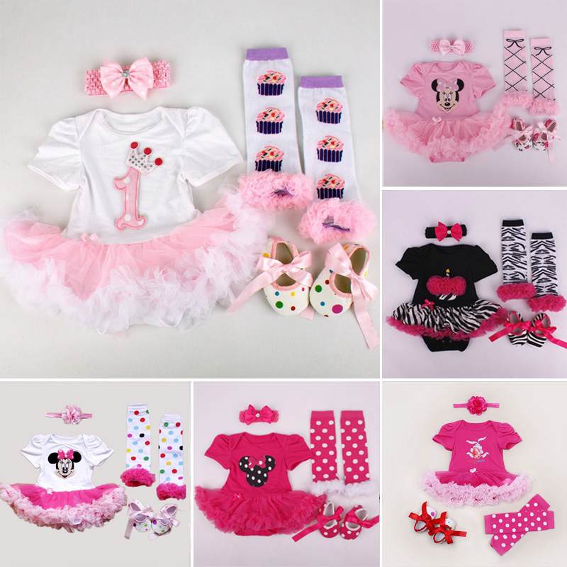 Newborn Clothing Set Summer Girls Infant Skirt Bodysuits Headband Warmer Shoes Tutu Romper Set 4 Pieces Newborn Clothing Set(China)
