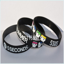 New Arrived 100PCS/Lot 5 SECONDS OF SUMMER 5SOS Silicone Wristband with Cute Portrait