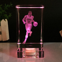 Crystal Cube Figurine NBA basketball star Russell Westbrook model crystal ornaments fans gift 3D Laser Engraved Crafts Colourful