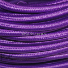 10 meters Purple 2 Wire 0.75mm2 Textile Electrical Wire Color Braided Wire Fabric Covered Electrical Power Cord Wire Cable