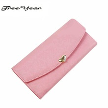 2015 Fashion  Wallets Long Design Ladies Clutches Coin Purse Card Holder PU Leather Women Wallet 10 Colors Cute Diamond 3 Folds