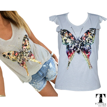2017 summer t shirts for women 3D Sequined Butterfly short Sleeve grey t shirt kawaii womens clothing summer tops cute tees