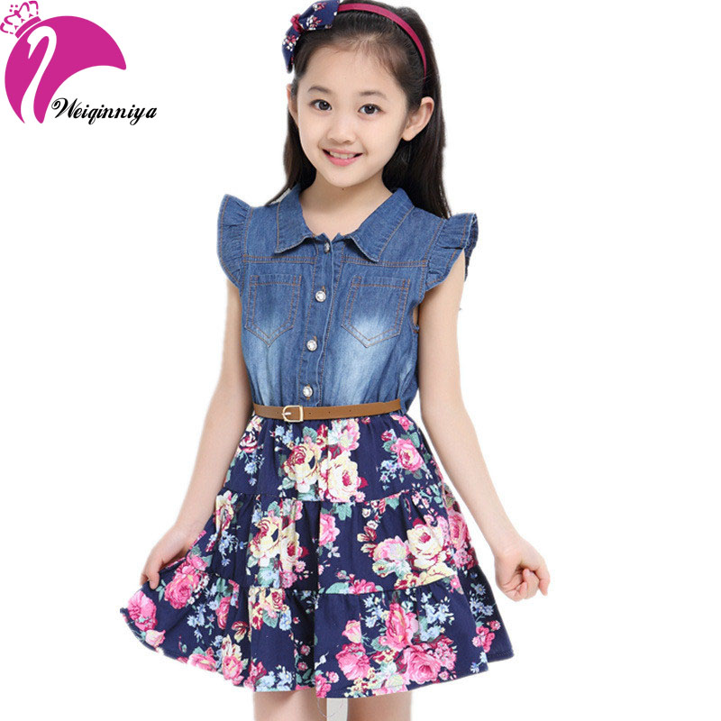 New Brand 2017 Girl Dress Summer Casual Fashion Patchwork Denim Floral Dresses Sleeveless Vestido Infantil Kids Clothes<br><br>Aliexpress