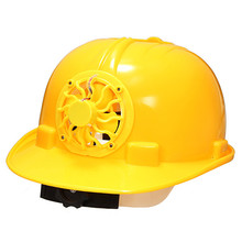 0.3W PE Solar Powered Safety Security Helmet Hard Ventilate Hat Cap with Cooling Cool Fan Yellow