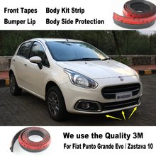 Car Bumper Lips For Fiat Punto Grande Evo / Zastava 10 Car Tuning / Body Kit Strip / Front Tapes / Body Chassis Side Protection