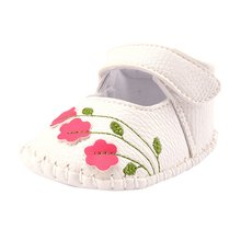Baby Prewalkers Toddler Girl Walking Shoes Flower Embroidered Soft Shoes Prewalker White Pink