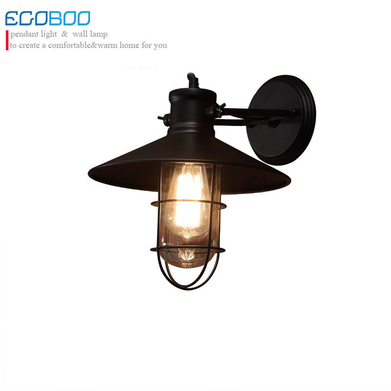 American style Loft Industrial Creative Iron Wall Lamp indoor Restaurant/ Bedroom bedside Lighting /Edison light bulb