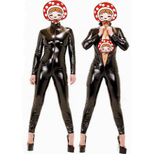 Buy XXL Hot Sexy Black Catwomen Jumpsuit PVC Spandex Latex Catsuit Costumes Women Body Suits Fetish Leather Dress Wetlook Jumpsuits