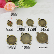 10pcs/lot Round 8/10/12/14/16/18/20/25mm Antique Bronze Cameo Cabochon Base Jewelry Findings Settings Charms Pendants Tray F1755(China)