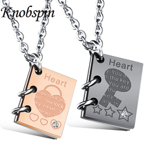 Creative couple lovers Book Jewelry Stainless Steel Necklaces & Pendants Korean  Lovers promise Accesssories Gift Wholesale
