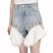 Summer Mid Waist Lace Denim Shorts Colorful Diamonds Beading Shorts Casual Women Jeans Shorts(China)