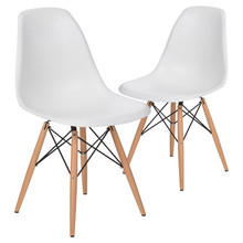 Replica Modern Dining Side Chair  With Wood Legs/ Plastic Eeammes Classic Chair/ Replica Charles Dining Chair-2PCS SET