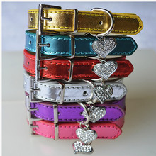6 Colors Adjustable Flashing Leather Dog Collar With Rhinestone Heart Charm Size S M Products For Animals(China)